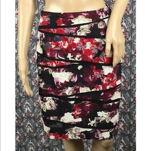 WHBM Floral Tiered Pencil Skirt Multicolored